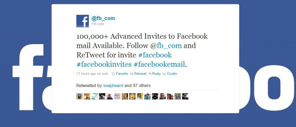 Invite Facebook mail