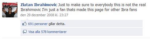 Zlatan Ibrahimovic facebook fan page