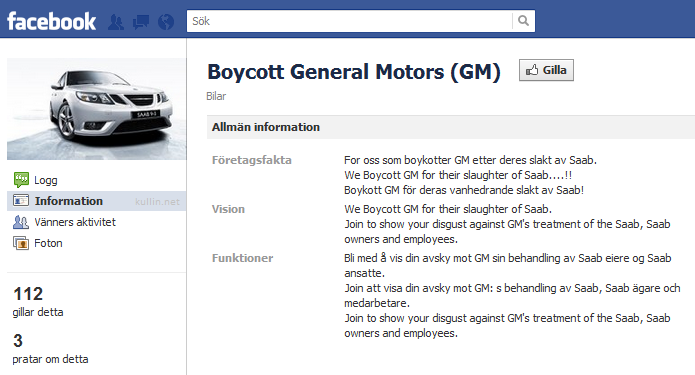 Boycott General Motors Facebook Group