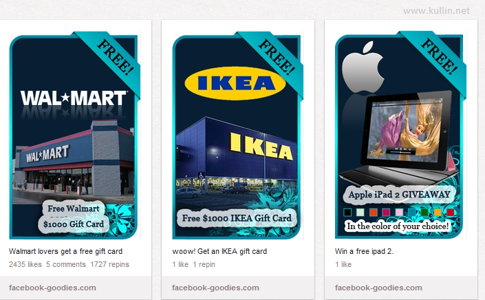 pinterest spam ads for ikea and ipad