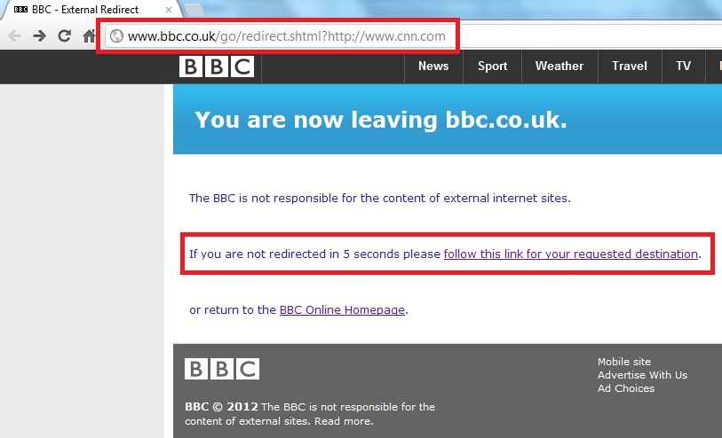 BBC scam uses redirect page