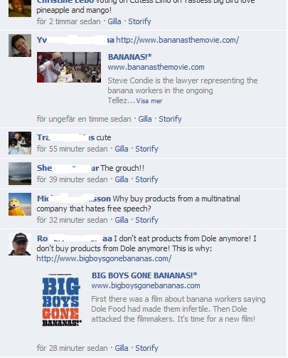Facebook comments deleted by Dole