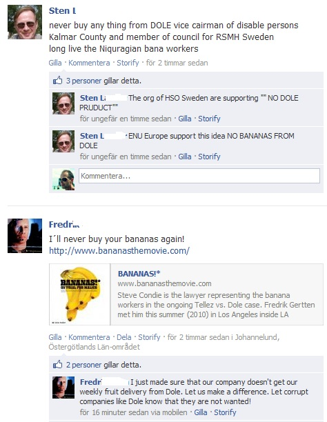 comments on Dole Facebook page, deleted by Dole