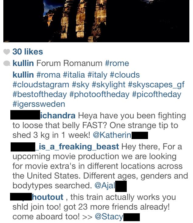 spam instagram comments hashtags