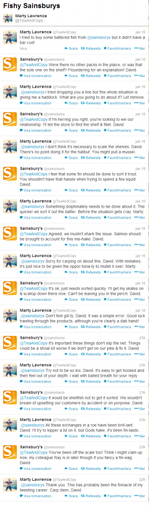 Fishy Sainsburys clever conversation on Twitter