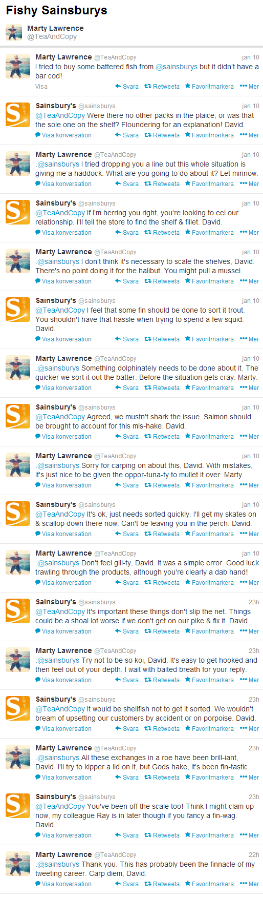Fishy Sainsburys - clever response on Twitter
