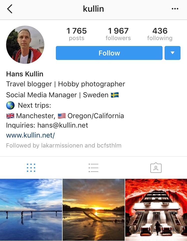instagram drop down menu