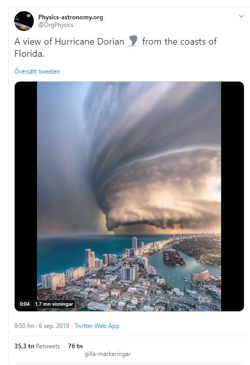 fake hurricane dorian video from miami beach